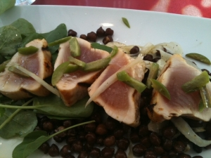 The Grilled St. Jude Albacore with black garbanzo beans, marinated spring fennel, grapefruit vinaigrette, and watercress.